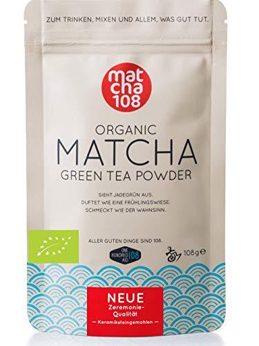 Matcha thee poeder 108 – Bio Zeremonie kwaliteit (voor extra mild theegenot) – Ideaal voor smoothies en lattes – gecertificeerd groene thee poeder [108 g Ceremonial Grade Green Tea]