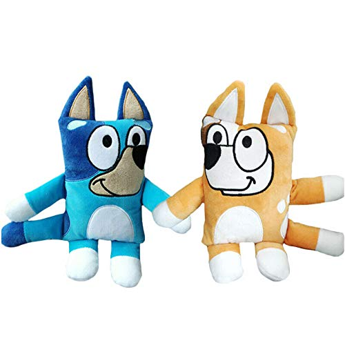 jgzwl Peluche2pcs 30cm Blue Bingo Plush Toys Animal Dog Plush Doll Toys Cartoon TV Dog Peluches Peluches para Niños Regalos De Cumpleaños De Navidad