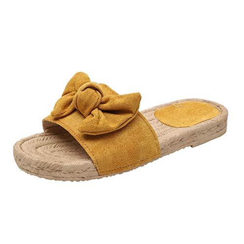 VECDY Sandalias Mujer Verano 2019, Zapatillas De Playa Planas con Nudo En Forma De Mariposa con Nudo En Verano De Roma Sandalias con Punta Abierta Suave Casual Calzados(Amarillo,EU-36)