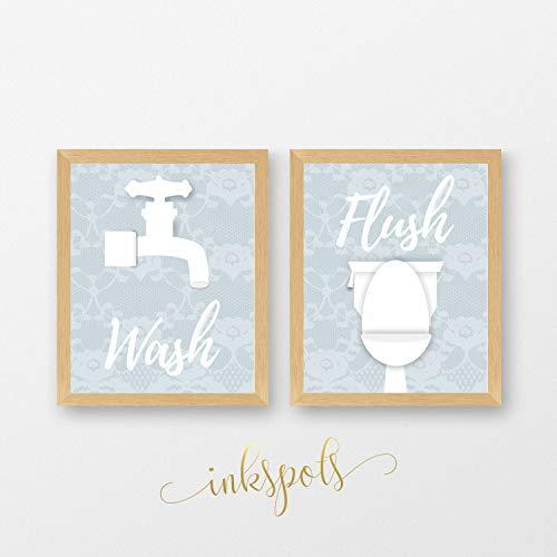 Rac76yd - Juego de 2 letreros para baño, decoración de pared en polvo para baño, decoración de pared en papel o impresiones con lavado y lavado