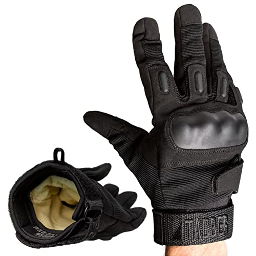 TAC9ER Kevlar Lined Tactical Gloves - Full Hand Protection, Cut and Temperature Resistant, Touch Screen Friendly Safety Gloves for Airsoft, Motorcycle Riding, Construction, Heavy Duty Use