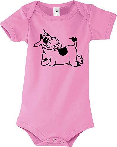 Shirtstown Body Bébé Drôle Animal Einhornkuh, Licorne, Vache - Rose, 18-24 Monate