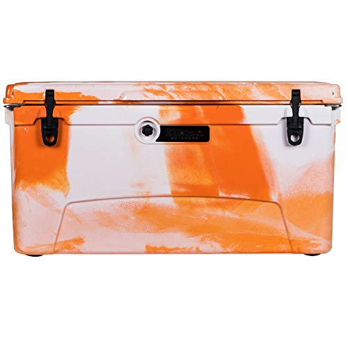 Elkton Outdoors Ice Chest. Heavy Duty, High Performance Roto-Molded Commercial Grade Insulated Cooler, 110-Quart, Orange
