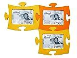 TOMMY Cornice Portafoto multiplo da parete size 13x18 (kit da 3 pezzi) - Cornice Portafoto Puzzle Tommy colori: 2 pz. Giallo Sole - 1 pz. Arancio