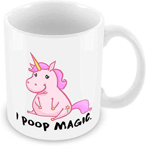 Tazas divertidas Unicorn I Poop Magic Coffee Mug, blanco