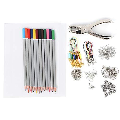Atyhao Wärmeschrumpf Plastikfolien Kit, 20 Stück Schrumpffolien mit 12 Farben Bleistifte Maisschnallen Ohrhaken Locher DIY Ohrringe Anhänger Zubehör(20145-6#)