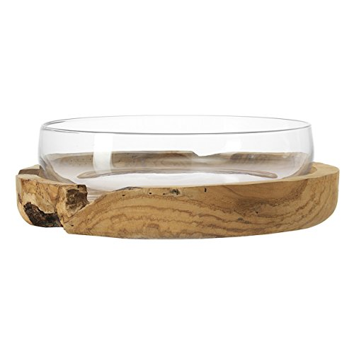 LEONARDO - Schale mit Teakholzsockel - Schale 39 mit Teaksockel - Ø: 39 cm - Glas, Teakholz
