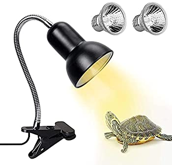 Reptile Heat Lamp Basking Spot Lamp with Holder & Switch,UVA UVB Reptile Lamp with Fixture for Lizard Turtle Snake Amphibian & Aquarium with 2 Bulbs
