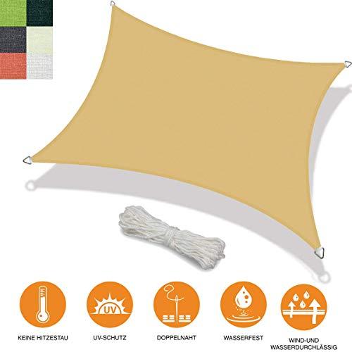 bonsport Marken Sonnensegel Sonnenschutz Rechteck rechteckig viereckick 4x7 m Sand