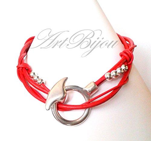 Collar Gargantilla Cuero Rojo y Cierre de Zamak con Baño de Plata de Ley 925, Regalos para Ella, Regalo Mujer