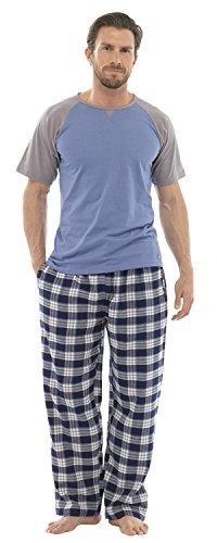 Ensemble de Pyjama T-Shirt Pantalon Long Motif à Carreaux en Coton HT349 Homme (L) Gris