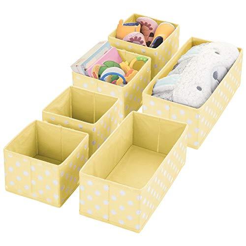 mDesign Juego de 6 Cajas de almacenaje para Cuarto Infantil, baño, etc. – Cestas organizadoras con Estampado en Zigzag – 6 organizadores de armarios de Fibra sintética en Dos tamaños – Amarillo Claro