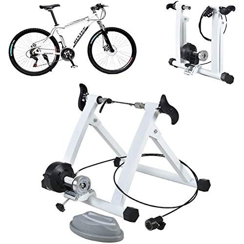 Bike Trainer Stand, Draads Besturing Magnetic Fiets Trainer, Fixed Gear Trainer Voor Oefening Fitness for 26 '' - 28 '' Wielmaten Road En Mountainbikes Rollen,White