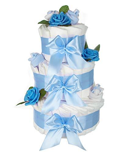 dubistda© XXL Windeltorte blau für Junge ROSENBLÜTE / 63-teilig/Geschenk zur Geburt / 45cm