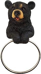 Hugo The Helper Black Bear Towel Holder Decoration