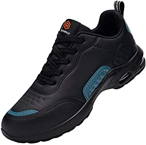 DYKHMILY Safety Shoes for Women Lightweight Steel Toe Cap Trainers Air Cushion Work Shoes Non Slip Comfortable Breathable Industrial Sneakers(Black Blue,6UK)