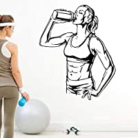 Wall Stickers Gym Drink Fitness Muscle Body-Building Vinyl Wall Decal Decor Mural Art Sticker 47X58Cm