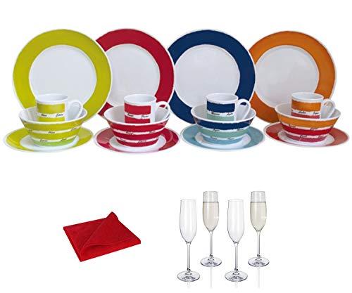 Moritz - Vajilla de melamina para 4 personas, diseño de colores + 4 copas de champán Tiamo + 1 paño de microfibra rojo para camping