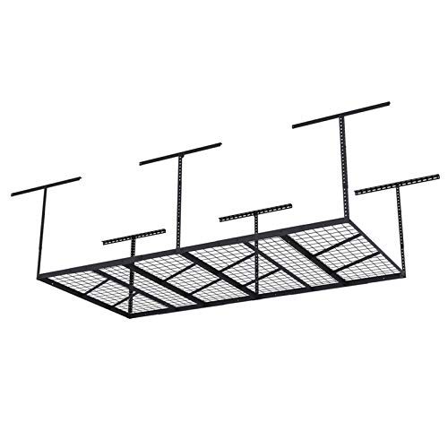 Fleximounts Pro 4x8 Overhead Garage Storage Rack Adjustable Ceiling Garage Rack Heavy Duty, 96' Length x 48' Width x 22'-40' Ceiling Dropdown, Black