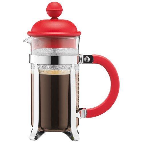 Bodum CAFFETTIERA Kaffeebereiter (French Press System, Permanent Edelstahlfilter, 0,35 liters) rot