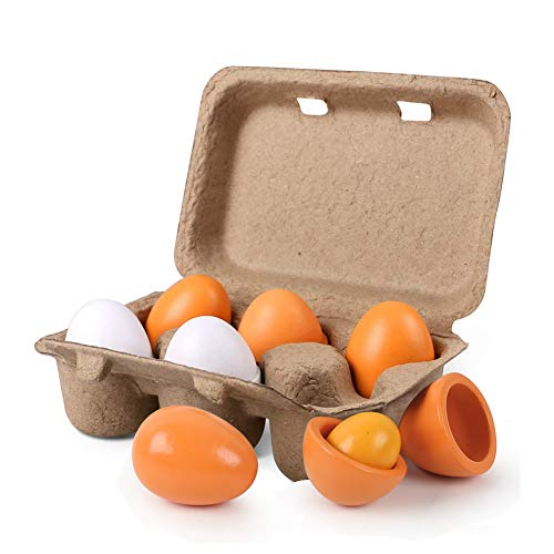 HANSGO Wooden Easter Eggs, Unpainted Wood Eggs Pretend Play Food Sets 6PCS Easter eggs Egg Toys for Kids Early Development, Learning, Birthday Gifts