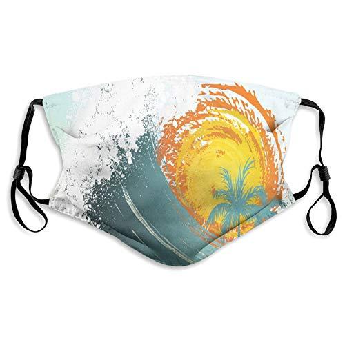FULIYA Protector de boca y nariz de tela, exóticas palmeras de coco Sun Ocean Wave Summer Graphic,Bandana reutilizable de media cara cubierta protectora de boca, lavable, longitud ajustable (M)