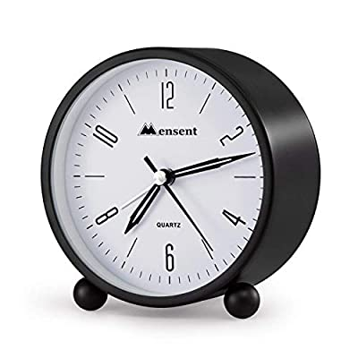 Alarm Clock.Mensent 4 inch Round Silent Analog Alarm Clock Non Ticking,with Night Light, Battery Powered Super Silent Alarm Clock, Simple Design Beside/Desk Alarm Clock (White)