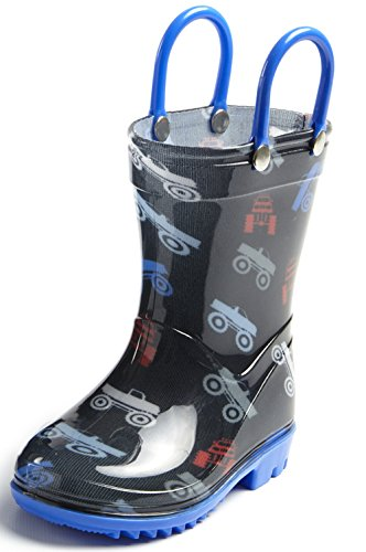 Puddle Play Toddler and Kids Rain Boots with Easy On Handles - Boys Blue Monster Truck Design Little Kid Size 13