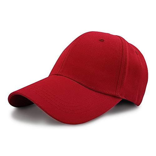 Baseball Cap, Kappe, Unisex Men and Women/Herren oder Damen, 100% Baumwolle, Metallschnalle, Metal Buckle, Atmungsaktiv, Weiß, Blau, Rot, Grau, Schwarz (Rot)