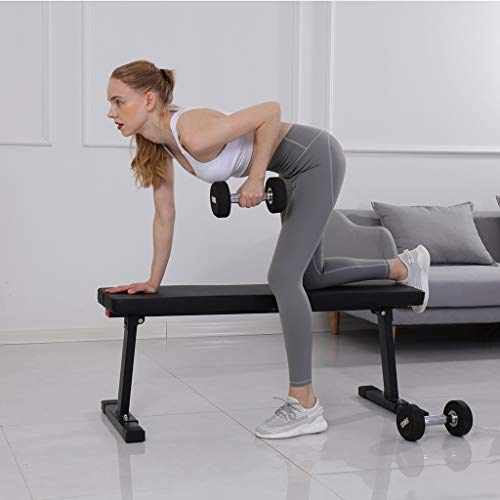 Multifunctional Flat Weight Abdominal Bench, Foldable Utility Workout Excercise Fitness Bench for Home Gym Cardio Workout Weight Training Abdominal Exercise, Load Capacity 600lbs (Black)