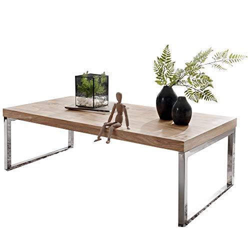 FineBuy Massiver Couchtisch Java 120 x 60 x 40 cm Akazie Massiv Holz Tisch | Design Wohnzimmertisch aus Massivholz | Beistelltisch Rechteckig Braun