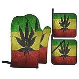 ASNIVI Guantes y agarraderas para Horno, Hoja de Marihuana Cannabis,Guantes Resistentes al Calor de hasta 300 ℃, Guantes aislantes ,adecuados para cocinar, Hornear, Asar a la Parrilla
