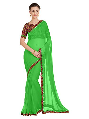 SOURBH Women's Chiffon Saree With Blouse Piece (5681)