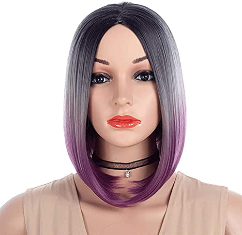 L&B-MR Peluca de degradado de Bob Mix Color peluca completa de pelo natural para mujer, peluca sintética recta media separación del pelo sin flequillo 35 cm, degradado (color: degradado)