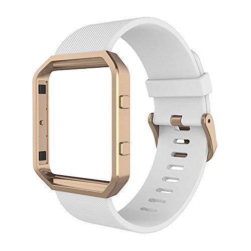 Simpeak Sport Band Compatible with Fitbit Blaze Smartwatch Sport Fitness, Silicone Wrist Band with Meatl Frame Replacement for Fitbit Blaze Men Women, Small, White Rose Gold Frame