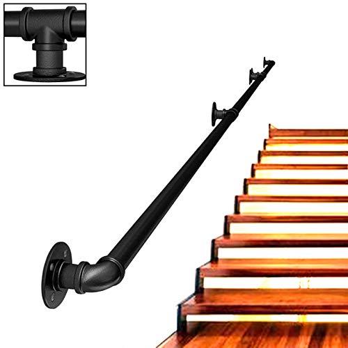 ZCFXGHH Pasamanos Baranda de Escalera de Tubo de Hierro Forjado de Estilo Industrial, Baranda de Escalera Antideslizante para Interiores y Exteriores de,Tamaño Personalizable |,2ft/60cm