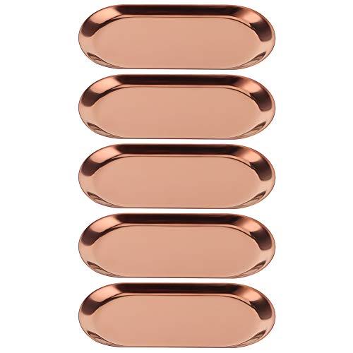 Fait 5st rostfritt stål oval formad handduksfack kosmetika smycken förvaringsfack tallrik arrangör ofta används för matbord kök (3#)