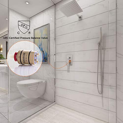 Derpras Luxury Shower System with 12 Inch Ultra Thin Rain Shower Head