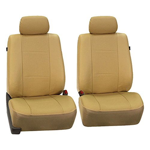 FH Group PU007BEIGE102 Beige Deluxe Leatherette Bucket Seat Cover, Set of 2 (Airbag Compatible)