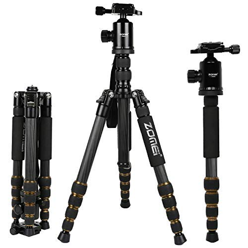 Zomei Z669C Carbon Fiber Tripod 60 inches/ 151 Centimeter Lightweight Stable Travel Monopod Tripod with 360-degree Ball Head and Five Section Leg Tube for Sony Nikon Camera
