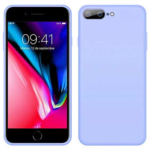 iPhone 8 Plus Funda, LaimTop Slim Silicona Líquida Estuche Suave Caucho Absorción de Golpes Anti-Arañazos Carcasa Protectora para iPhone 7 Plus / 8 Plus Púrpura