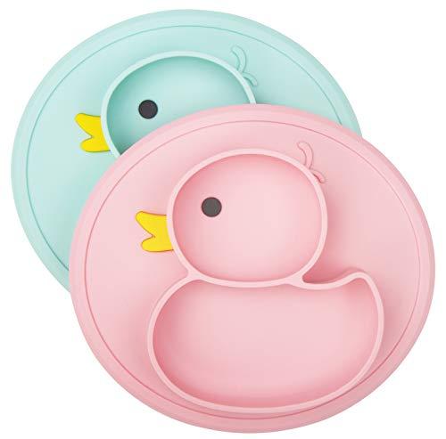 Baby Teller Rutschfeste Saugfütterungsplatte für Kleinkinder Babys Kinder Tischset mit Saugnäpfen BPA-frei, FDA-geprüft, Spülmaschinen-und mikrowellengeeignet (Cyan/Rose Ente)