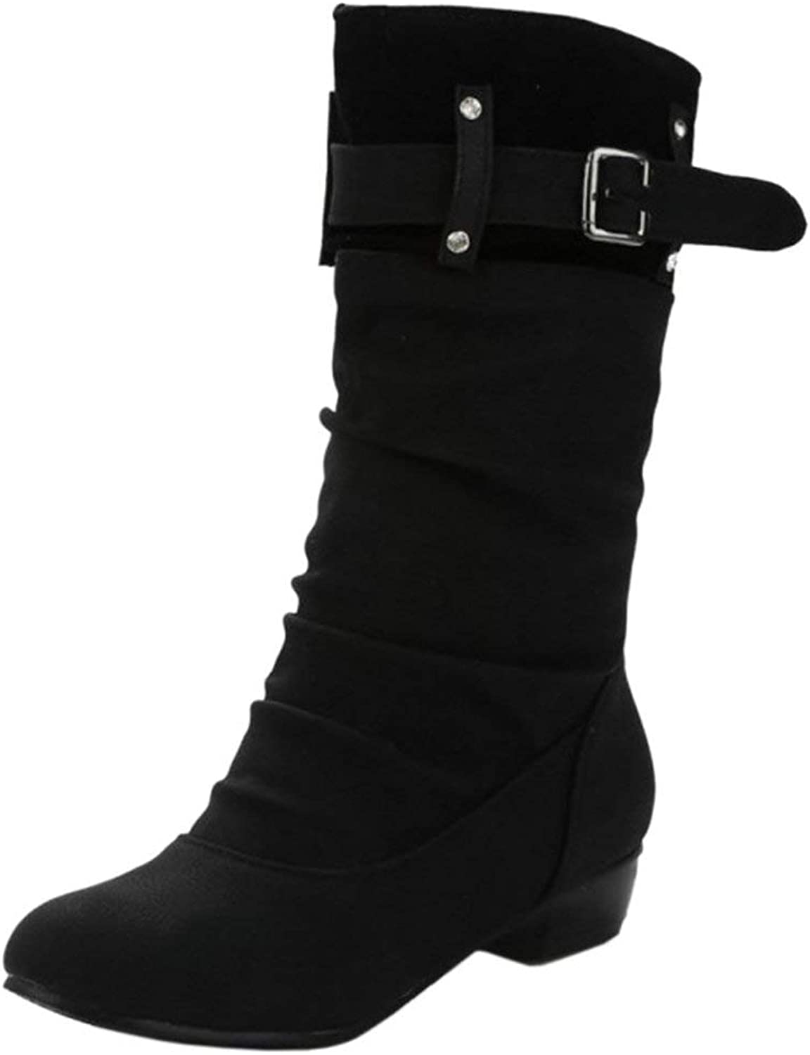Unm Women Fashion Pull On Mid-Calf Boots shoes Winter Warm
