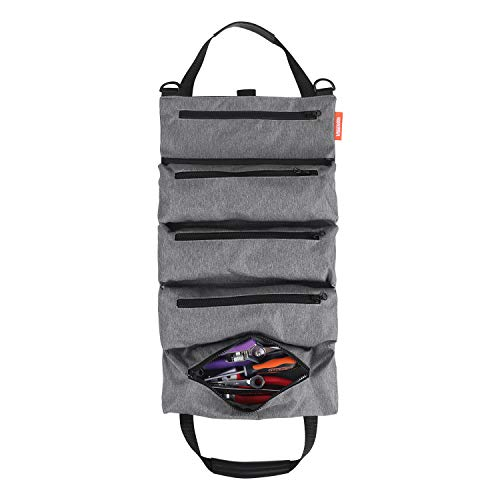 Tool Roll PouchSuper Tool Zipper BagsTote Carrier Tool Bag with 5 Zippered Pocket for Electrician and Garden