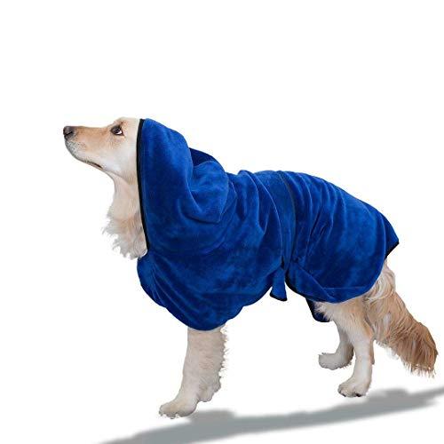 PETtyBourgeoisie Hundebademantel mit Kapuze und verstellbarem Gurt + Gratis Pfote Trockentuch Set 4X saugfähiger 100% Microfibre Pet Dry Coat aus Mikrofaser|Medium