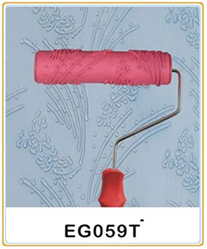 Piero Rubber reliëf bloempatroon DIY verfroller Decoratieve textuurroller met handgreep, 5