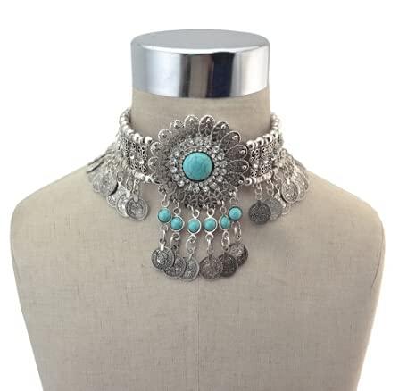 XKMY Cadena para el cuerpo, cadena de metal, cadena para el cuerpo, estilo bohemio, indio, sexy, con cuentas de piedra, danza del vientre, joyería tribal turca (color metálico: collar azul)