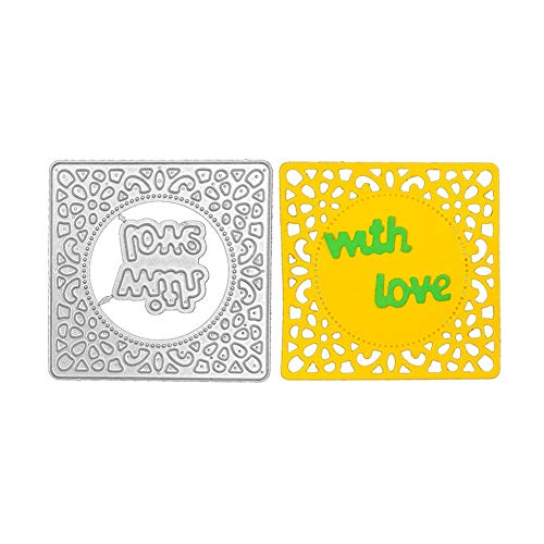 Rectangle Background Metal Cutting Die, Letters With Love Die Cuts Stencil Cutting Template Moulds Scrabooking Supplies for Invitation Card Making, Paper Crafting, Envelope, Emboosing, DIY Photo Album