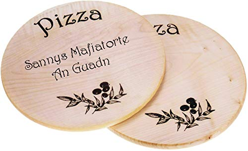 Sannys Pizzateller aus Holz Ø 35 cm, Holzteller Pizza geölt Gravurfähig (Mit Gravur)