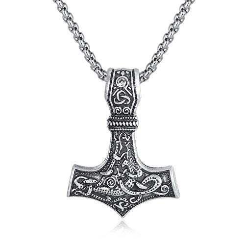 Holyheart Thor's Hammer Necklace Mjolnir Pendant, Viking Necklace, Viking Jewelry, Norse Mythology Necklace, Amulet Norse Necklace, Handmade Gift Viking Jewelry for Men & Unisex